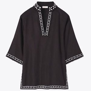 Tory Burch Solid Embellished Tunic. Size S. NWT.